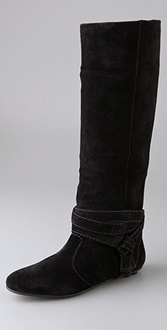 Diane von Furstenberg Weekend Suede Flat Boots with Ankle Wrap