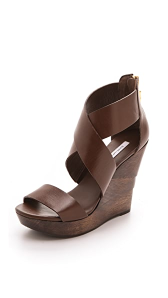 Diane von Furstenberg Opal Crisscross Wedge Sandals