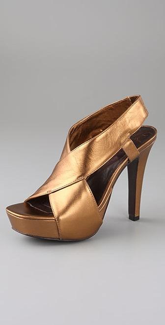 Diane von Furstenberg Zia Crisscross Metallic Platform Sandals