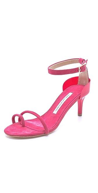 Diane von Furstenberg Baina Suede Mid Heel Sandals