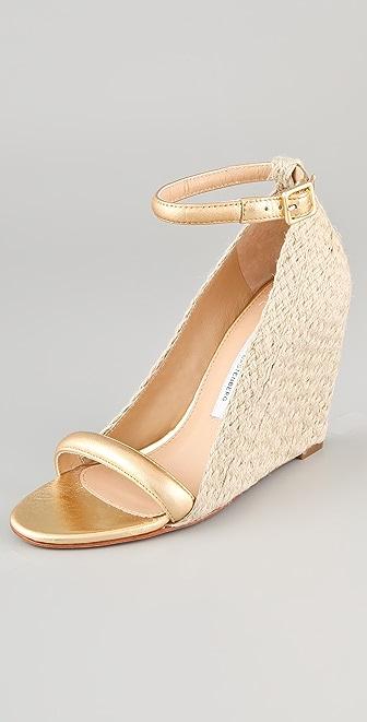 Diane von Furstenberg Tchad Metallic Wedge Sandals | SHOPBOP SAVE ...