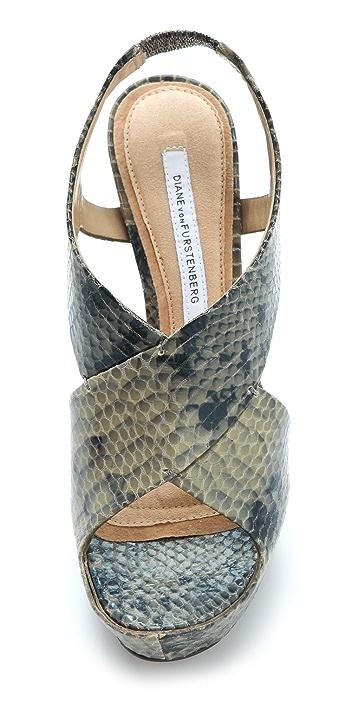Diane von Furstenberg Zia Embossed Platform Sandals