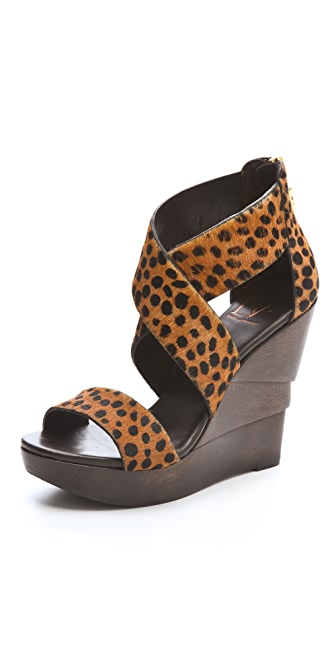 Diane von Furstenberg Opal Haircalf Crisscross Wedge Sandals
