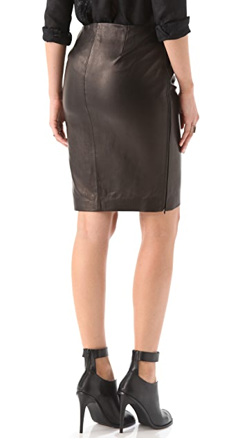 Diane von Furstenberg Clover Leather Pencil Skirt