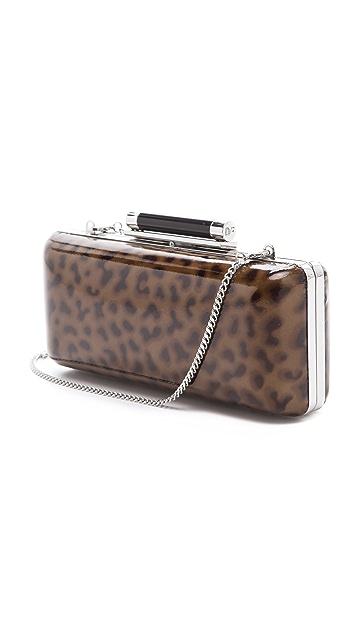 Diane von Furstenberg Tonda Large Leopard Patent Clutch
