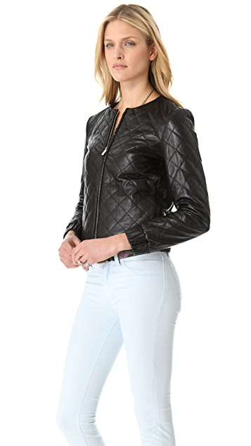 Diane von Furstenberg Delilah Quilted Leather Jacket