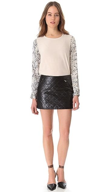 Diane von Furstenberg Daria Quilted Leather Skirt