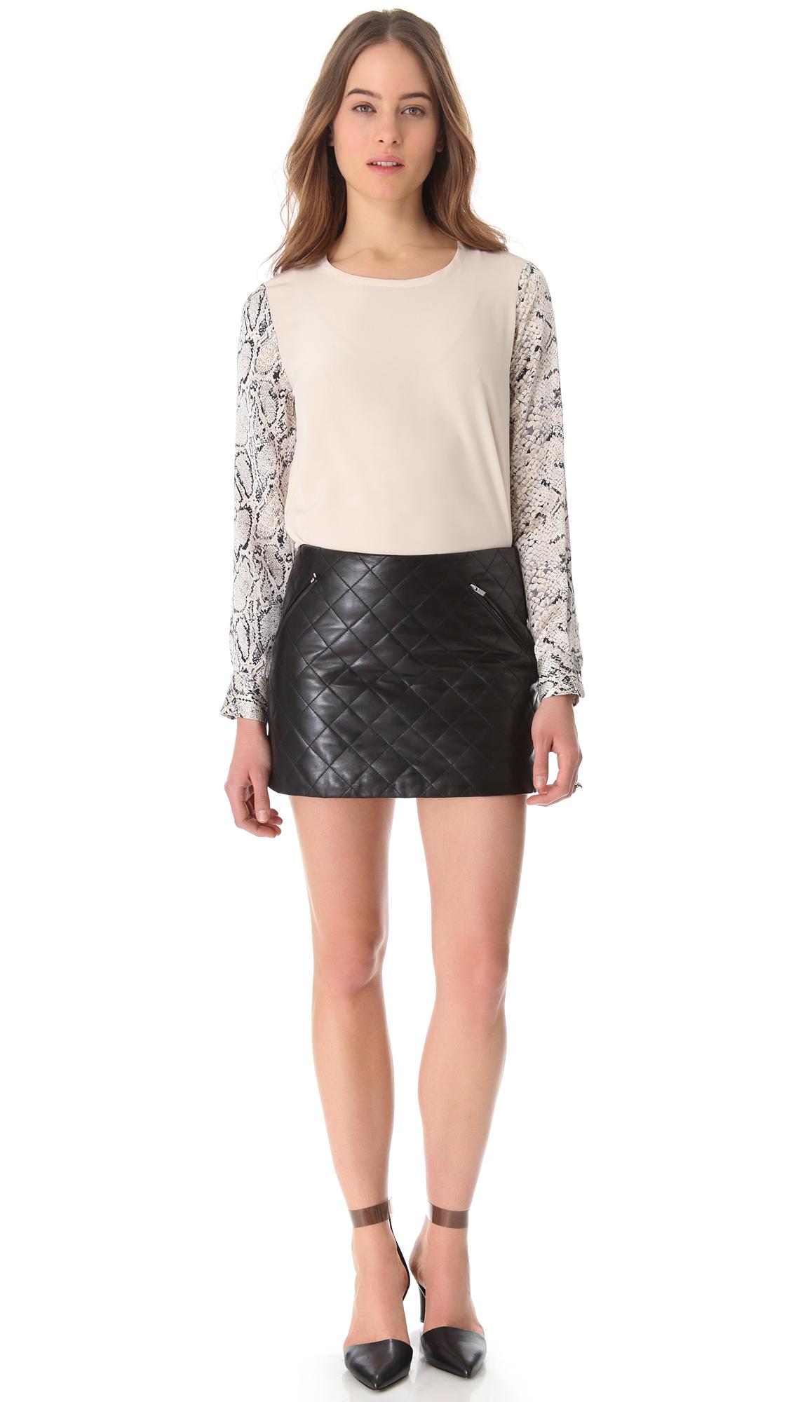 45ecbd9cc37 Diane von Furstenberg Daria Quilted Leather Skirt