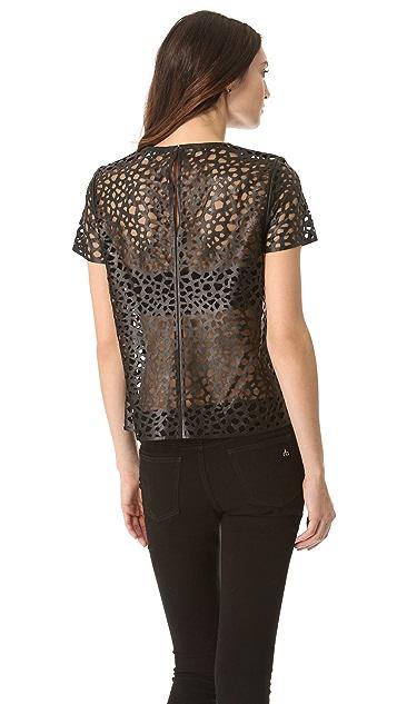 Diane von Furstenberg Sade Leather Leopard Top