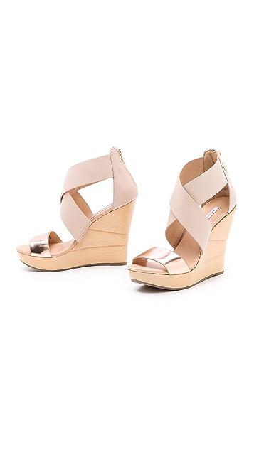 Diane von Furstenberg Opal Lacquered Wedge Sandals