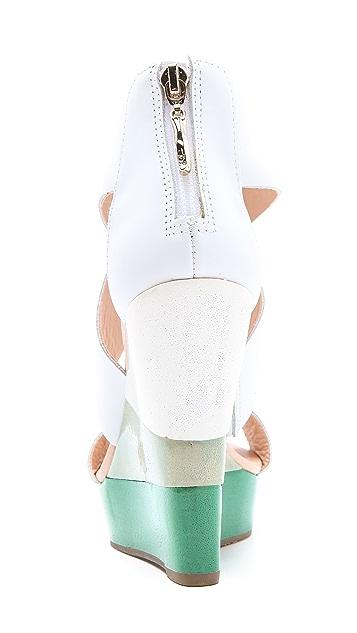 Diane von Furstenberg Ombre Wedge Sandals