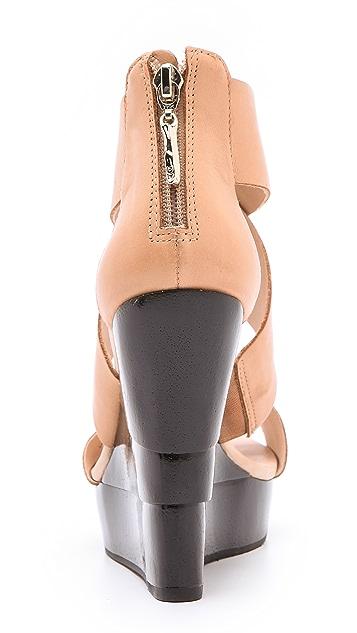Diane von Furstenberg Opal Black Lacquered Wedge Sandals
