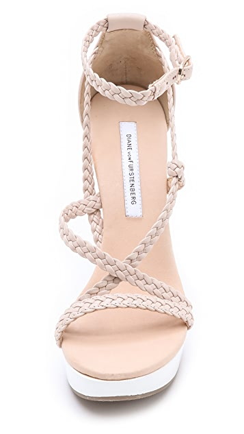 Diane von Furstenberg Olive Braided Wedge Sandals