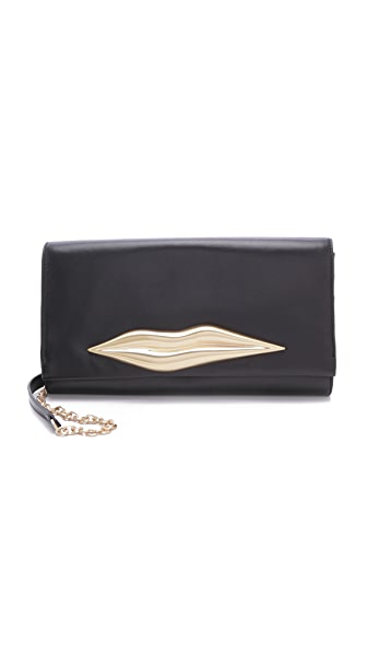 Diane von Furstenberg Caroline Lips Leather Clutch