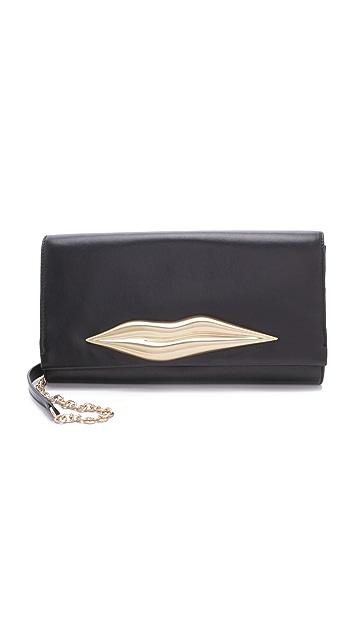 Diane von Furstenberg Caroline Lips Leather Clutch