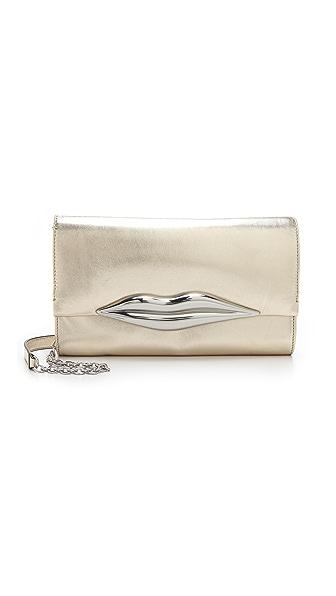 Diane von Furstenberg Carolina Lips Metallic Clutch