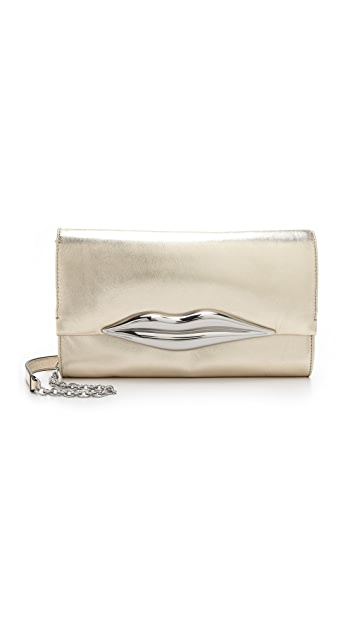 Diane von Furstenberg Carolina Lips Metallic Clutch