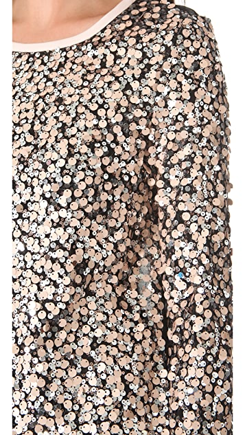 Diane von Furstenberg Kavita Metallic Sequin Top