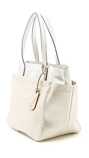 Diane von Furstenberg On the Go Metallic Canvas Tote