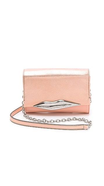 Diane von Furstenberg Lips Mini Metallic Clutch