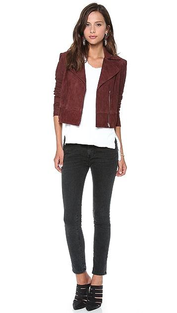 Diane von Furstenberg Kazara Suede Moto Jacket