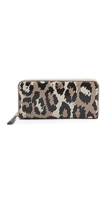 Diane von Furstenberg Leopard Printed Zip Around Wallet