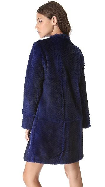 Diane von Furstenberg Candice Rabbit Fur Coat