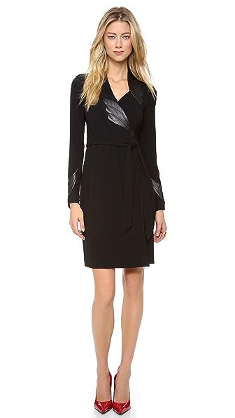 Diane von Furstenberg Glam with Leather Dress