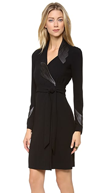 Diane von Furstenberg Glam with Leather Dress