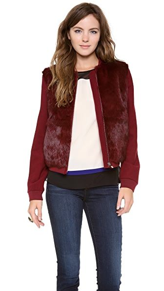 Diane von Furstenberg Carrington Fur Front Coat