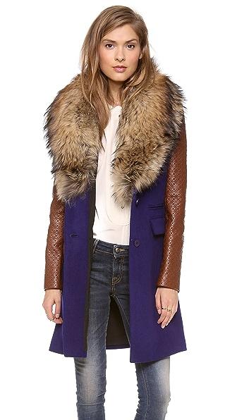 Diane von Furstenberg Bell Fur Collar Coat | SHOPBOP