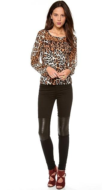 Diane von Furstenberg Murren Leopard Print Top