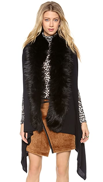 Diane von Furstenberg Didi Serape Vest With Fur
