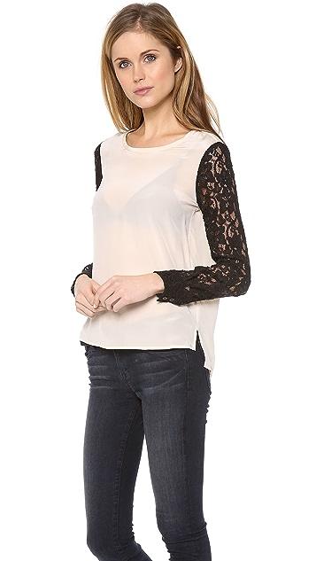 Diane von Furstenberg Lace Sleeve Louise Top