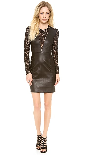 Diane von Furstenberg Kameela Leather Dress with Lace
