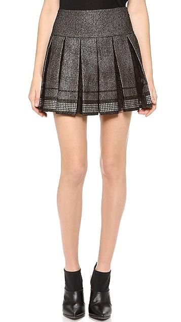 Diane von Furstenberg Ricarda Lace Insert Pleated Skirt