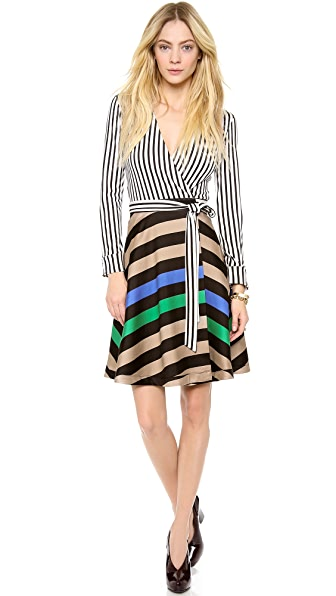 Diane von Furstenberg Amelia Stripe Wrap Dress