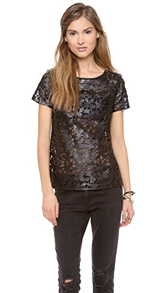Diane von Furstenberg Ora Laser Cut Leather Tee