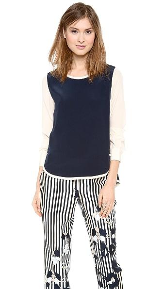 Diane von Furstenberg Tabatha Contrast Sleeve Blouse