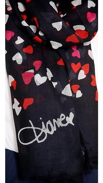Diane von Furstenberg Confetti Hearts Hanovar Scarf