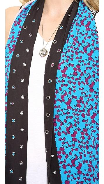 Diane von Furstenberg Orchid Serape Grommet Scarf Vest