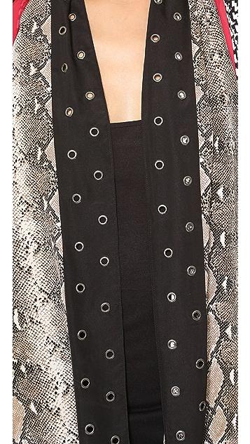 Diane von Furstenberg Python Serape Grommet Scarf Vest