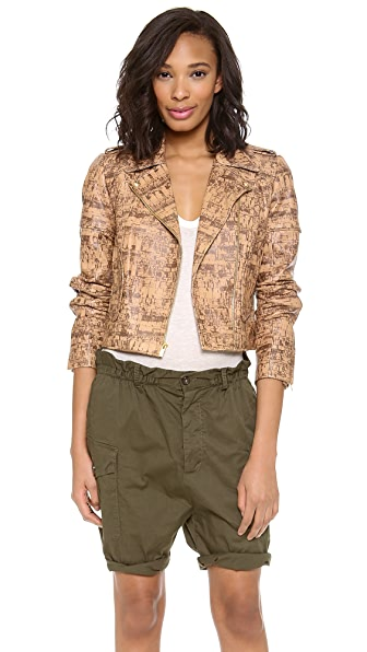 Diane von Furstenberg Theodora Print Leather Jacket
