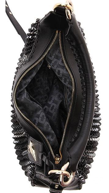 Diane von Furstenberg Sutra Knit Leather Zip Hobo Bag