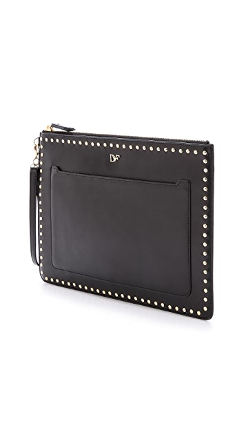 Diane von Furstenberg On The Go Pouch Studded Leather