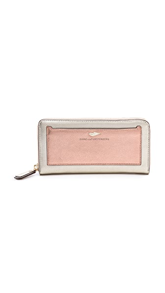 Diane von Furstenberg Flirty Zip Around Metallic Wallet