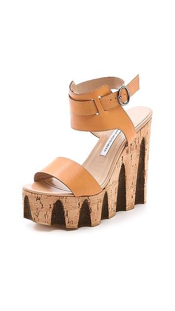 Diane von Furstenberg Tinsley Cork Wedge Sandals