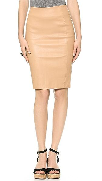 Diane von Furstenberg Panel Marta Leather Pencil Skirt