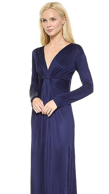 Diane von Furstenberg Long Sleeve V Neck Gown