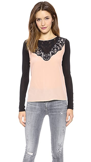 Diane von Furstenberg Long Sleeve Top with Lace